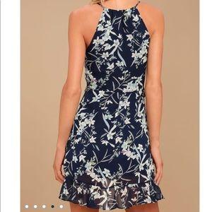 Navy Blue Floral Print Sleeveless Dress NWT